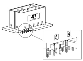 Schematic photo of JFA connector J-PF3 press fit type