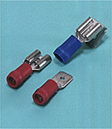 Close up image of Quick disconnect terminal (Male, Female, Piggyback/ Vinyl-insulated with copper sleeve)