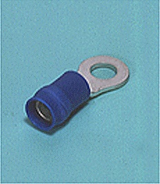 Close up image of Ring tongue terminal (R-type, Vinyl-insulated with copper sleeve) (flared)