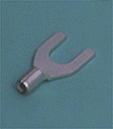 Close up image of DIN terminals/splices Spade tongue terminal Non-insulated