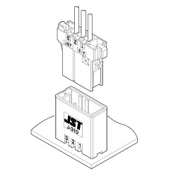 Schematic photo of JFA Connector J300 series (W to B 3.81mm pitch)